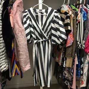 Trina Turk Hyacinth Striped Surplice Puff Dress